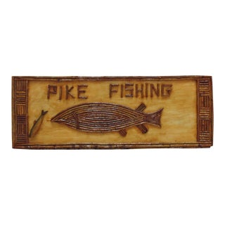 Vintage Adirondack Wood Pike Fishing Sign Fish Fisherman For Sale