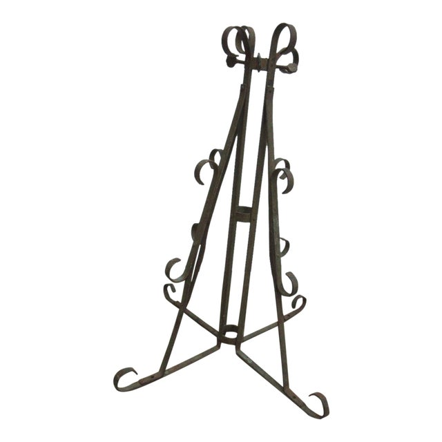 Antique Wrought Iron Scroll Flag Pole Music Stand Ceremonial For Sale