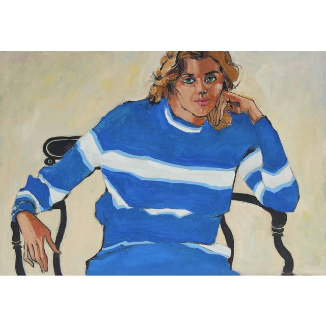 """Modern Rip Matteson """"Oakland, Linda"""" Portrait With Blue and White Striped Sweater Oil Painting, 1971 For Sale - Image 3 of 3"""