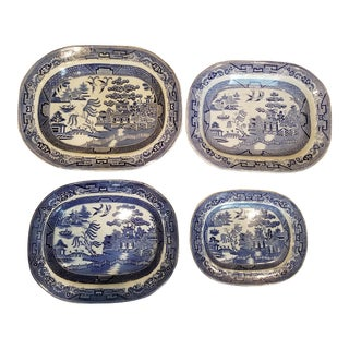 Gallery Wall Blue Willow Platters - Set of 4 For Sale