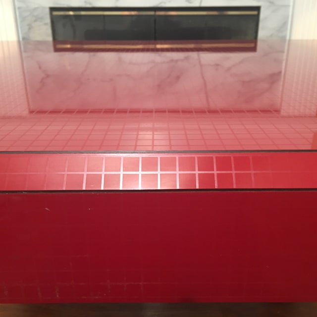 Wood Postmodern Red Occasional Table With Graph Pattern For Sale - Image 7 of 9