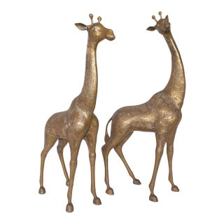 Hollywood Regency Large Brass Giraffes - a Pair For Sale