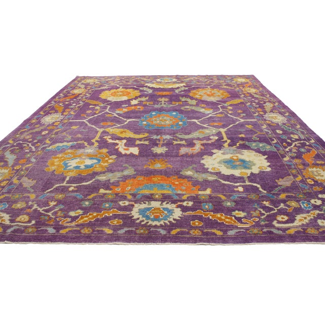 Art Deco Purple Contemporary Turkish Oushak Rug - 10'2 X 13'10 For Sale - Image 3 of 5