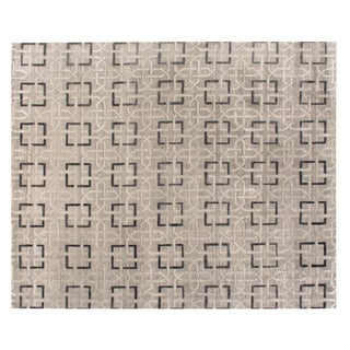Stark Studio Contemporary New Oriental Tibetan Silk Rug - 8′ × 10′3″ For Sale
