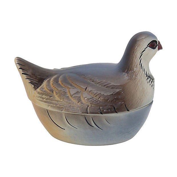 Majolica partridge pâté tureen in the shape of a partridge. Made in Portugal and hand-painted in France for the French...