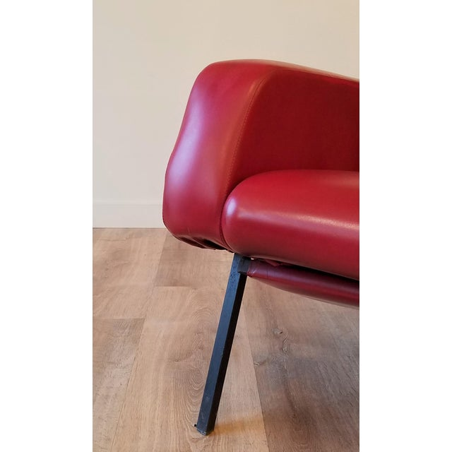 """Red Vintage Pierre Guariche """"Trelax"""" Reclining Lounge Chair For Sale - Image 8 of 12"""