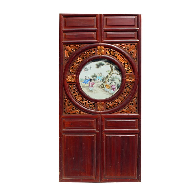 1950s Chinese Vintage Round Porcelain Scenery Wood Wall Panel Art For Sale - Image 5 of 9