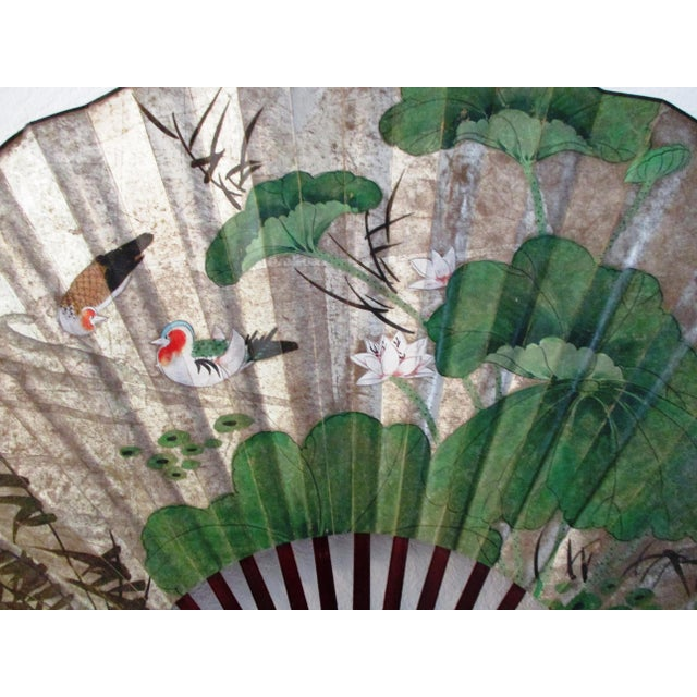 Silver 1980s Japanese Hand-Painted Paper & Wood Wall Fan For Sale - Image 8 of 13