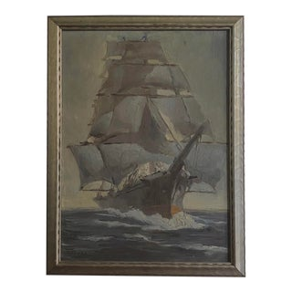 1940s Michael Graves Clipper Ship Oil on Canvas Painting, Framed For Sale