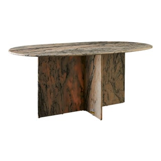 Oval Pink and Gray Marble Dining Table For Sale