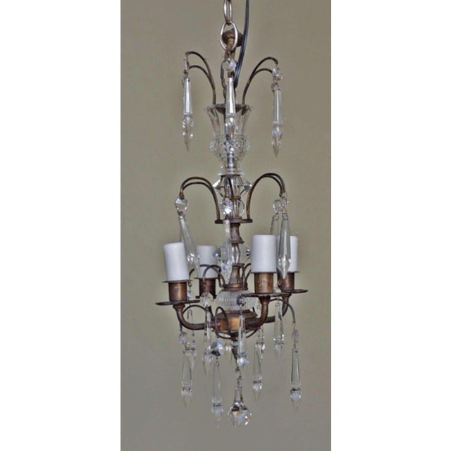Early 20th C Italian Brass and Crystal Petite Chandelier For Sale In Charleston - Image 6 of 6