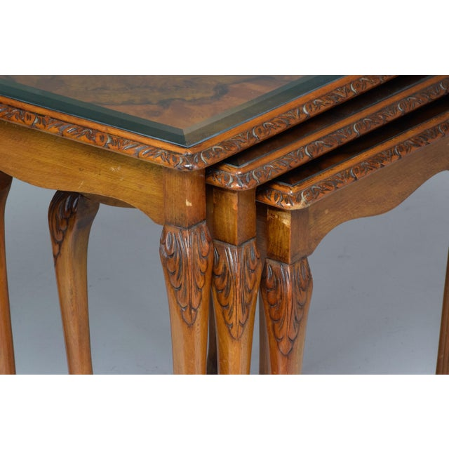 Chippendale Three French Vintage Bookmatch Nesting Tables, 1960s-1970s For Sale - Image 3 of 13