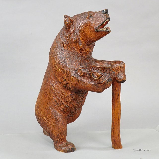 an antique finely carved black forest begging bear, brienz circa 1930. aheartofglass, antique, art deco, artglass,...