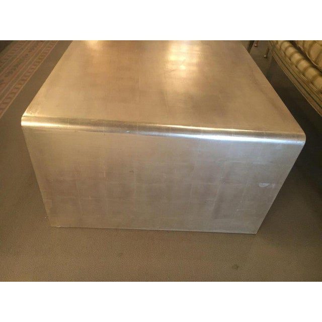 Art Deco Waterfall Coffee Table With Silver Leaf Finish in the Style of Jean Michel Frank For Sale - Image 3 of 9
