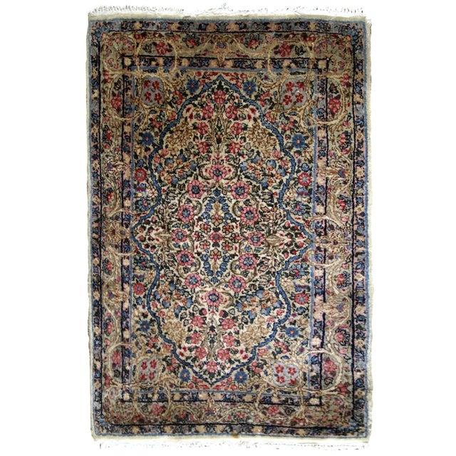 Textile 1920s, Handmade Antique Persian Kerman Rug 2.1' X 3.2' - 1b704 For Sale - Image 7 of 7
