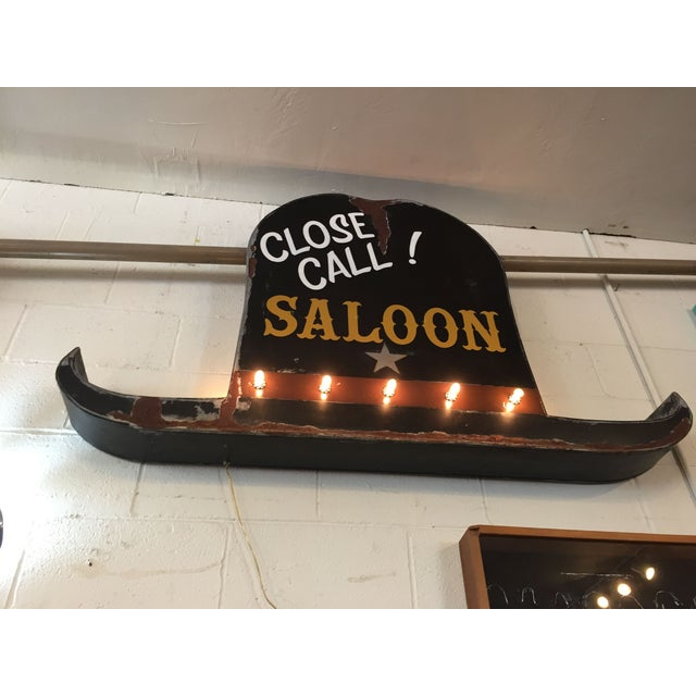 Vintage 40s Style Western Close Call Saloon Sign - Image 2 of 11