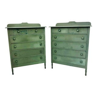 Pair Antique Tall Dresser Chests For Sale