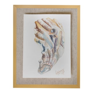 "Contemporary Oyster Watercolor Painting on Paper ""East Coast Ii"" by Leigh-Anne O'Brien (Lagob), Framed For Sale"