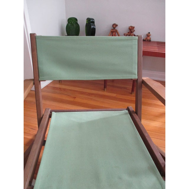 Vintage Teak Folding Canvas Chairs - A Pair For Sale - Image 9 of 10