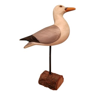 Carved Painted Seagull Figure For Sale