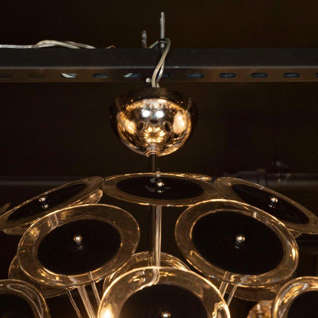 Modernist Polished Nickel Vistosi Chandelier With Handblown Murano Black Discs For Sale - Image 4 of 7