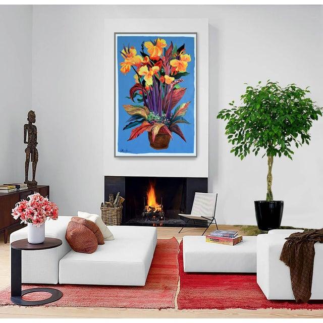 """Pot De Fleurs"" Calla and Canna Watercolor Painting - Image 3 of 8"