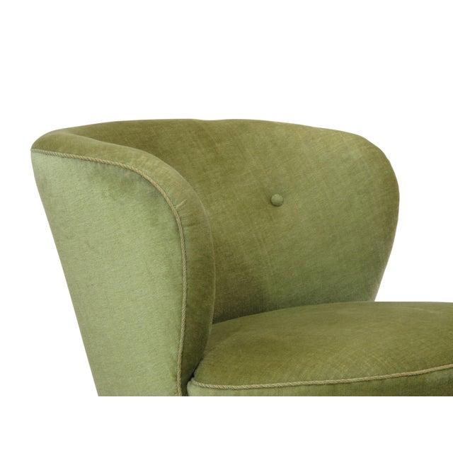 1930s Danish Slipper Chair in Original Green Mohair For Sale - Image 9 of 11