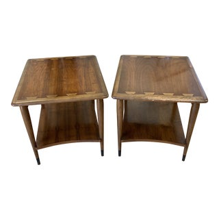 Lane Furniture by Andre Bus Acclaim Walnut + Oak Side Tables - a Pair For Sale