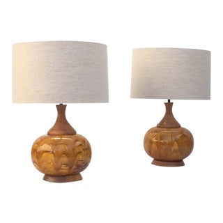 Large Drip Glazed Ceramic Lamps - a Pair For Sale