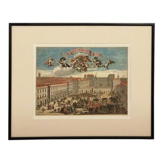 Vintage Framed Piazza Castello Limited Edition Print For Sale