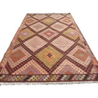 "Turkish Oushak Embroidered Kilim Rug-6'4'x10'2"" For Sale"
