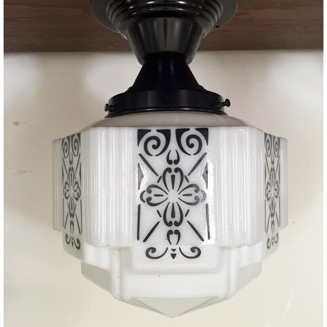 Art Deco Flush Mount Ceiling Fixtures - A Pair - Image 3 of 5