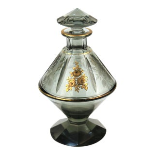 Czechoslovakian Etched and Gilt Glass Perfume Bottle For Sale