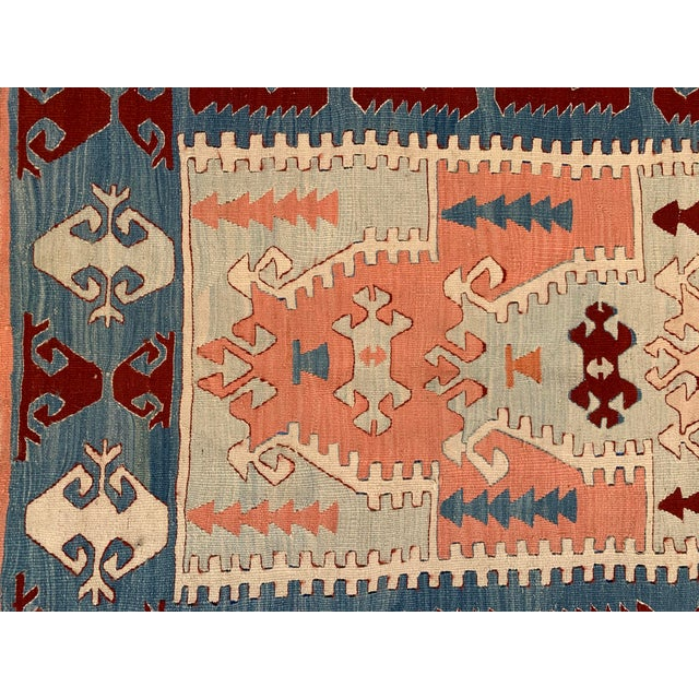 Islamic Blue and Coral Kilim Rug- 3′8″ × 5′2″ For Sale - Image 3 of 10
