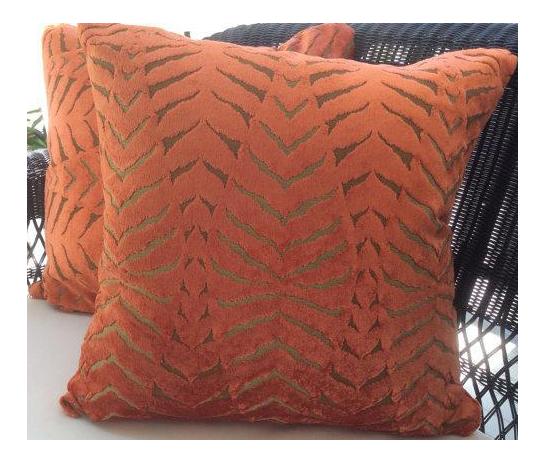 Robert Allen Pillows In Magnetism Orange Velvet Tiger
