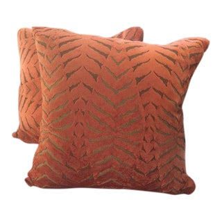 Robert Allen Pillows in Magnetism Orange Velvet Tiger Stripes - a Pair