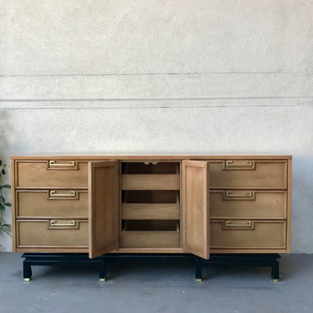 American of Martinsville American of Martinsville Pecan Credenza For Sale - Image 4 of 9