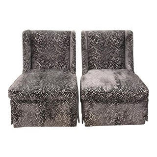 Mid Century Modern Velvet Slipper Chairs- A Pair For Sale