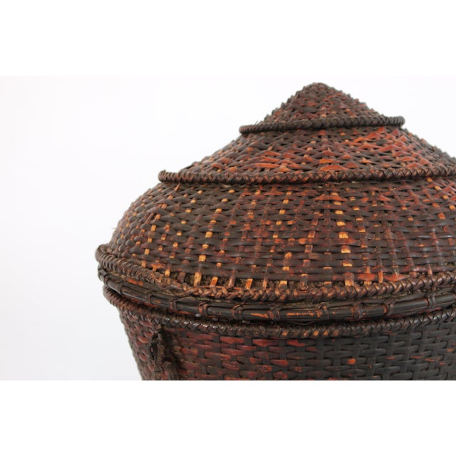 Woven Storage Basket with Lid For Sale - Image 9 of 10