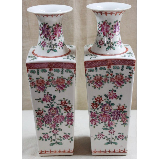 Pair of Chinese porcelain vases, early 20th century, drilled for lamps.