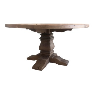 Restoration Hardware Salvaged Wood Trestle Round Dining Table For Sale