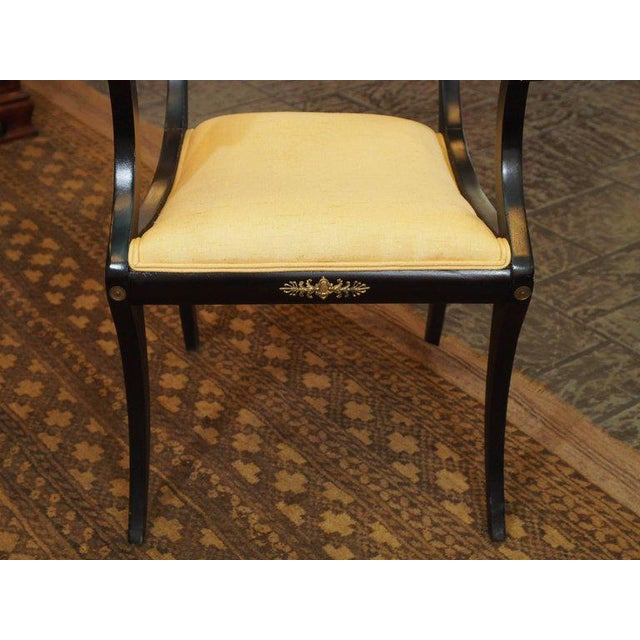 1920s Set of Eight Ebonized Dining Chairs, Regency Style, circa 1920 For Sale - Image 5 of 10