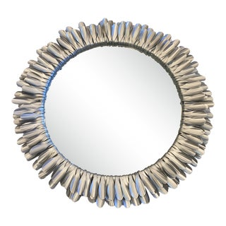 Modern Metal Sunburst Mirror For Sale