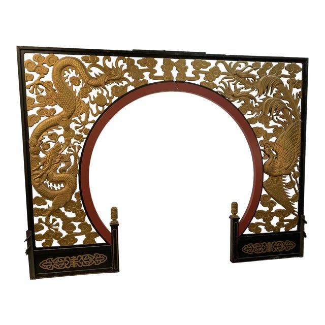 Room Size Wood Carved Chinese Moon Gate For Sale