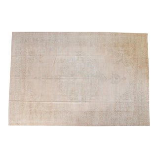 "Vintage Distressed Oushak Carpet - 8'6"" X 12'5"" For Sale"