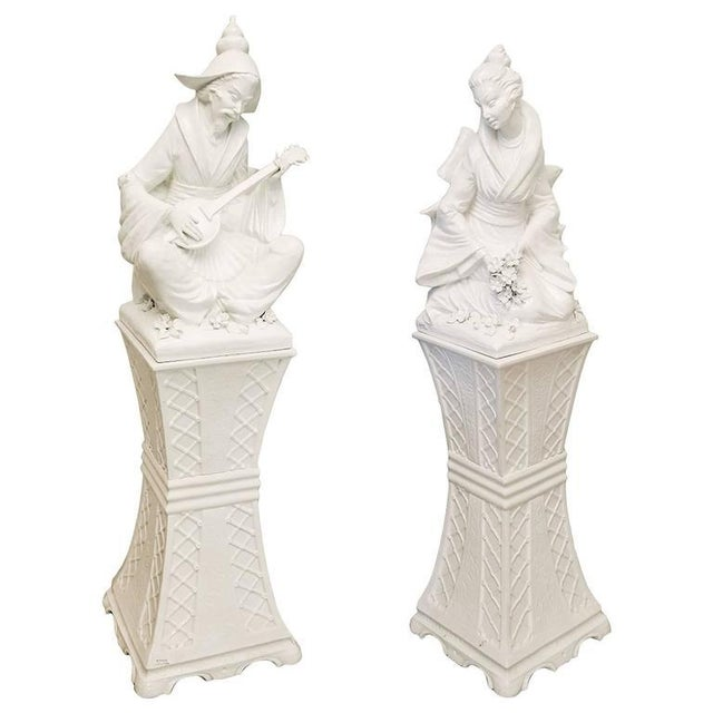 Mid 20th Century Vintage Mid-Century Blanc De Chine Musician & Maiden Figures - a Pair For Sale - Image 5 of 9