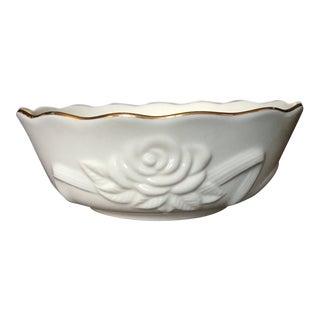 1980s Shabby Chic Lenox Ivory Porcelain Rosebud Bowl For Sale