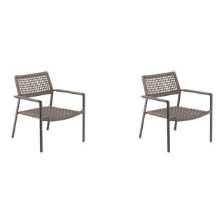 Outdoor Club Chair, Carbon and Mocha, Set of 2 For Sale
