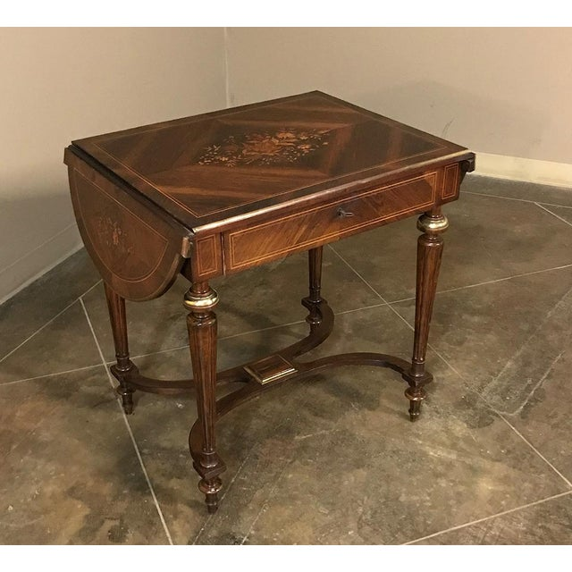 French 19th Century French Napoleon III Marquetry Rosewood Dropleaf Writing Table For Sale - Image 3 of 13