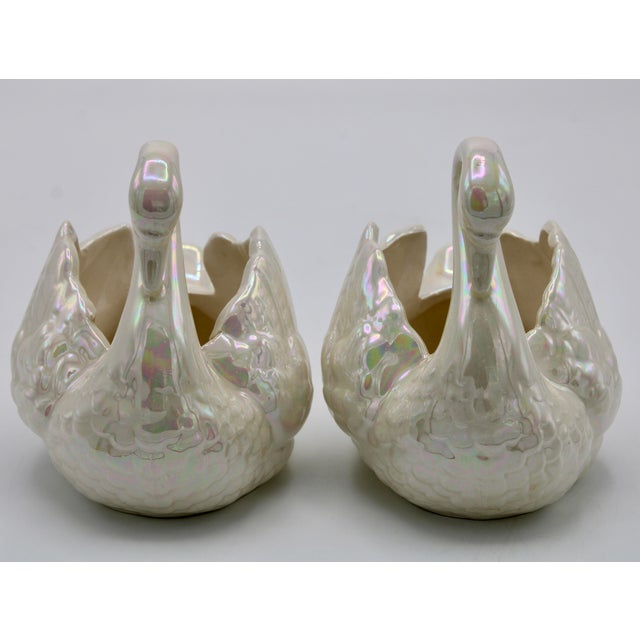 1940s Pair of Small Cream Lusterware Swan Cachepot Planters For Sale - Image 5 of 10